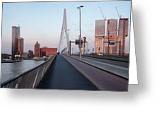 Rotterdam Downtown Skyline At Sunset Greeting Card