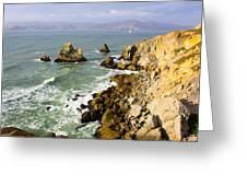 Rough Californian Shore Near San Francisco Ca Cliff House 2 Greeting Card