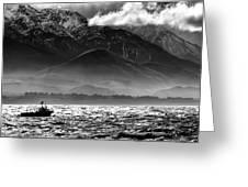 Rough Seas Kaikoura New Zealand In Black And White Greeting Card