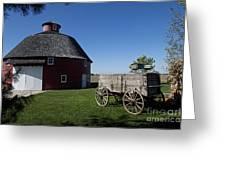 Round Barn Wooden Wagon Greeting Card