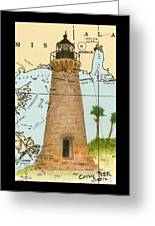 Round Island Lighthouse Ms Nautical Chart Map Art Greeting Card