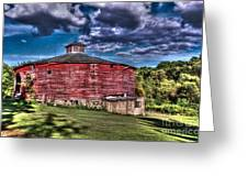 Round Red Barn Greeting Card