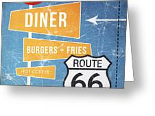 Route 66 Diner Greeting Card by Linda Woods