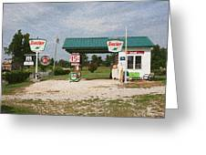 Route 66 Gas Station With Sponge Painting Effect Greeting Card