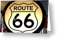 Route 66 Lighted Sign Greeting Card