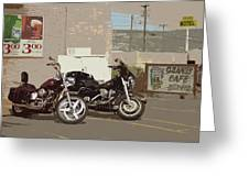 Route 66 Motorcycles With A Dry Brush Effect Greeting Card