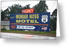 Route 66 - Munger Moss Motel Sign Greeting Card