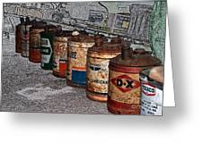 Route 66 Odell Il Gas Station Oil Cans Digital Art Greeting Card