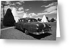Route 66 Wigwam Motel And Classic Car 5 Greeting Card