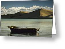 Row Boat On Silver Lake With Dunes Greeting Card