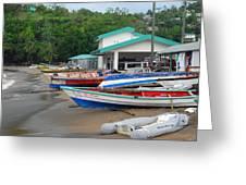 Row Boats On Beach Greeting Card