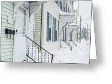 Row Houses On A Snowy Day Greeting Card by Edward Fielding