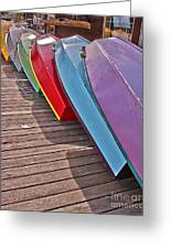 Row Of Colorful Boats Art Prints Greeting Card
