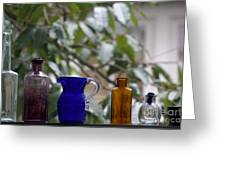 Row Of Colorful Glass Bottles  Greeting Card