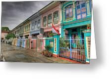 Row Of Historic Colorful Peranakan House Greeting Card