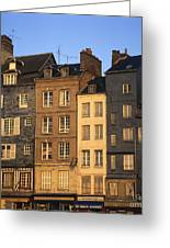 Row Of Houses. Honfleur Harbour. Calvados. Normandy. France. Europe Greeting Card