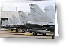 Row Of U.s. Marine Corps Fa-18 Hornet Greeting Card