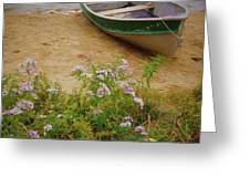 Rowboat And Asters Greeting Card