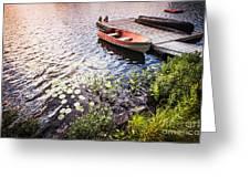 Rowboat At Lake Shore At Sunrise Greeting Card