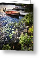 Rowboat At Lake Shore Greeting Card