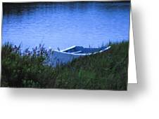 Rowboat In Grass Greeting Card