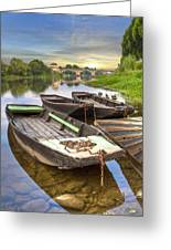 Rowboats On The French Canals Greeting Card