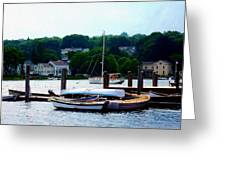 Rowboats Piled At Dock Greeting Card