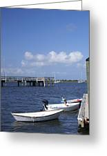 Rowboats Tied To Dock Greeting Card