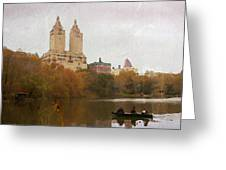 Rowers In Central Park Greeting Card