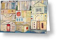 Rowhouses Triptych Greeting Card