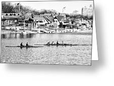 Rowing Along The Schuylkill River In Black And White Greeting Card