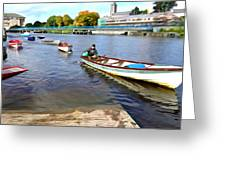 Rowing On The River - Irish Art By Charlie Brock Greeting Card
