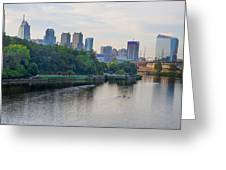 Rowing On The Schuylkill Riverwith Philadelphia Cityscape In Vie Greeting Card
