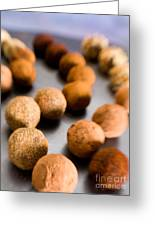 Rows Of Chocolate Truffles On Silver Greeting Card
