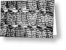 Rows Of Flip-flops Key West - Black And White Greeting Card