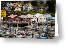 Rows Of Houses And Sails Greeting Card