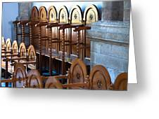 Rows Of Prayers Chairs Greeting Card