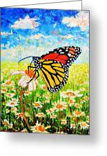 Royal Monarch Butterfly In Daisies Greeting Card