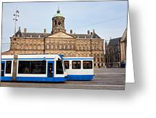 Royal Palace And Trams In Amsterdam Greeting Card