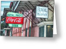 Royal Pharmacy Greeting Card by Brenda Bryant