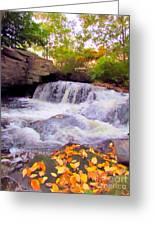 Royal River White Waterfall Greeting Card