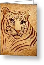 Royal Tiger Coffee Painting Greeting Card