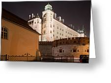 Royal Wawel Castle By Night In Krakow Greeting Card