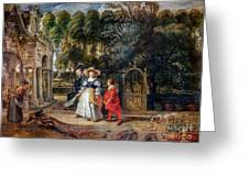 Rubens In His Garden With Helena Fourment Greeting Card