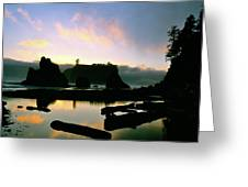 Ruby Beach Sunset Olympic National Park Greeting Card