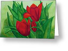 Ruby Red Tulips Greeting Card