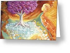Ruby Tree Spirit Greeting Card by Valerie Graniou-Cook