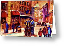 Rue St. Paul Old Montreal Streetscene In Winter Greeting Card