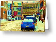 Rue Stanley Cafe Bistro La Marinara Italian Resto Asm Acting School Downtown Montreal Urban Scenes   Greeting Card