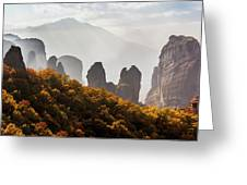 Rugged Cliffs And A Monastery  Meteora Greeting Card